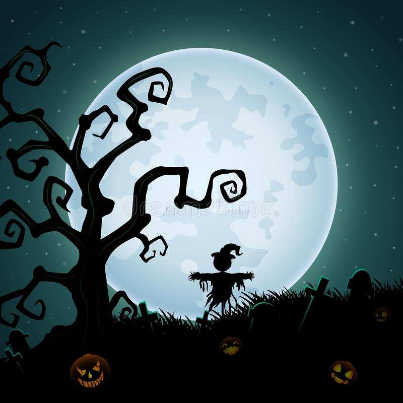 Halloween-achtergrond met enge vogelverschrikker op de volle maan vector illustratie