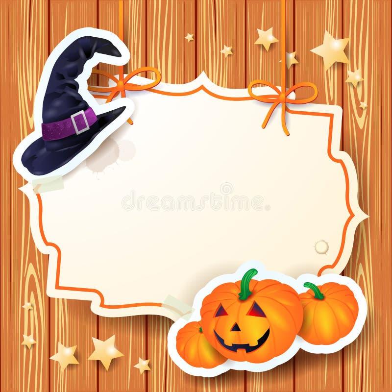 Halloween-achtergrond met etiket vector illustratie