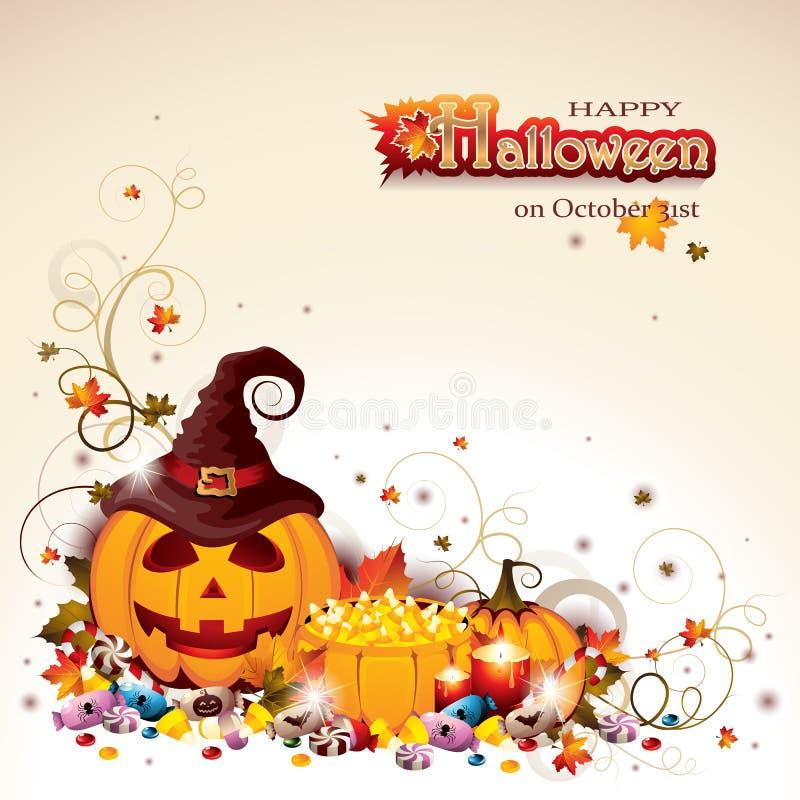 Halloween-Achtergrond met Jack O ` Lantaarn en Pompoenen royalty-vrije illustratie
