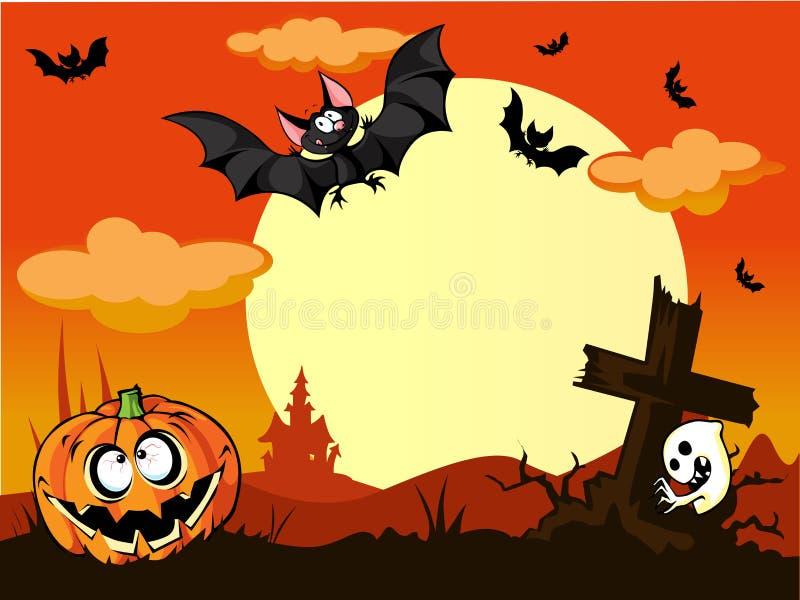 Halloween-achtergrond met pompoen in het gras, gr. stock illustratie
