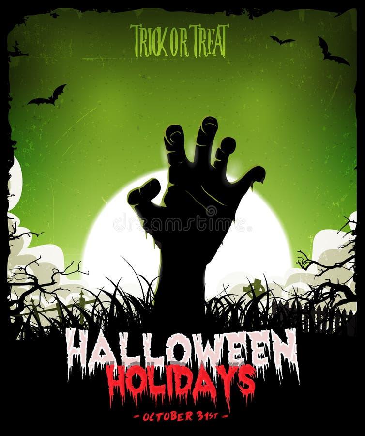 Halloween-Achtergrond met Undead-Zombiehand royalty-vrije illustratie
