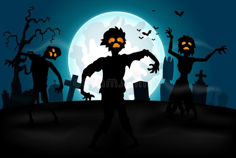 Halloween-achtergrond met zombieën, grafstenen en de maan op de begraafplaats vector illustratie