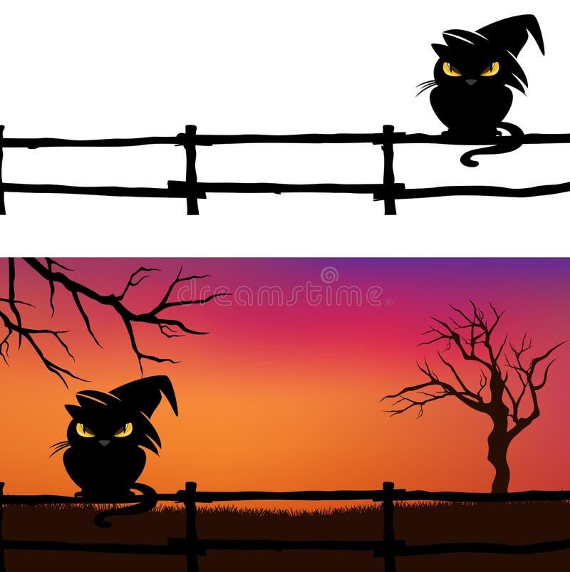 Halloween-achtergrond met zwarte kat en omheining stock illustratie