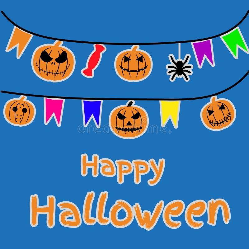 Halloween-achtergrond, pompoen Groetkaart voor partij en verkoop De herfstvakantie royalty-vrije illustratie