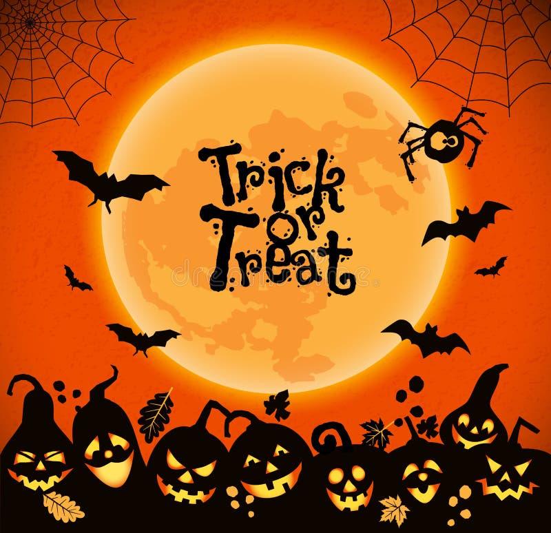 Halloween-achtergrond van vrolijke pompoenen royalty-vrije illustratie