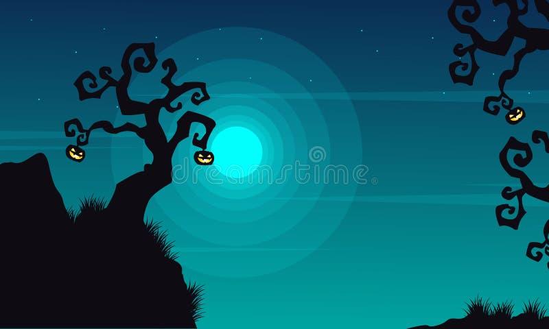 Halloween-achtergrondlandschap bij nacht vector illustratie