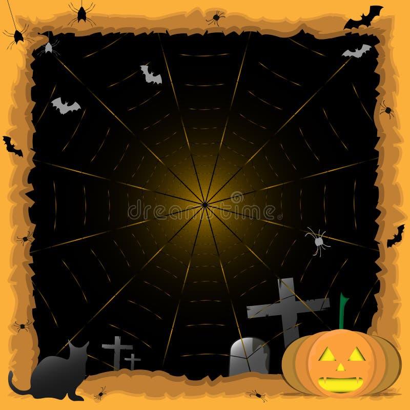 Halloween-achtergrondpompoen, zwarte kat De partij van Halloween Spinsticker De truc of behandelt stock illustratie