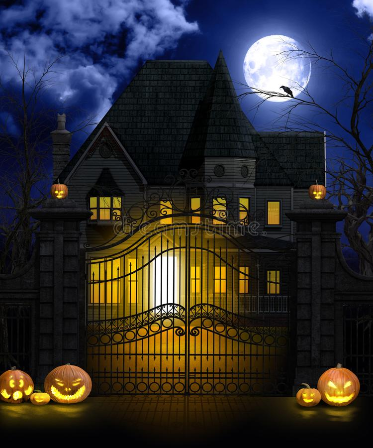 Halloween Achtervolgd Herenhuis bij Volle maan stock illustratie