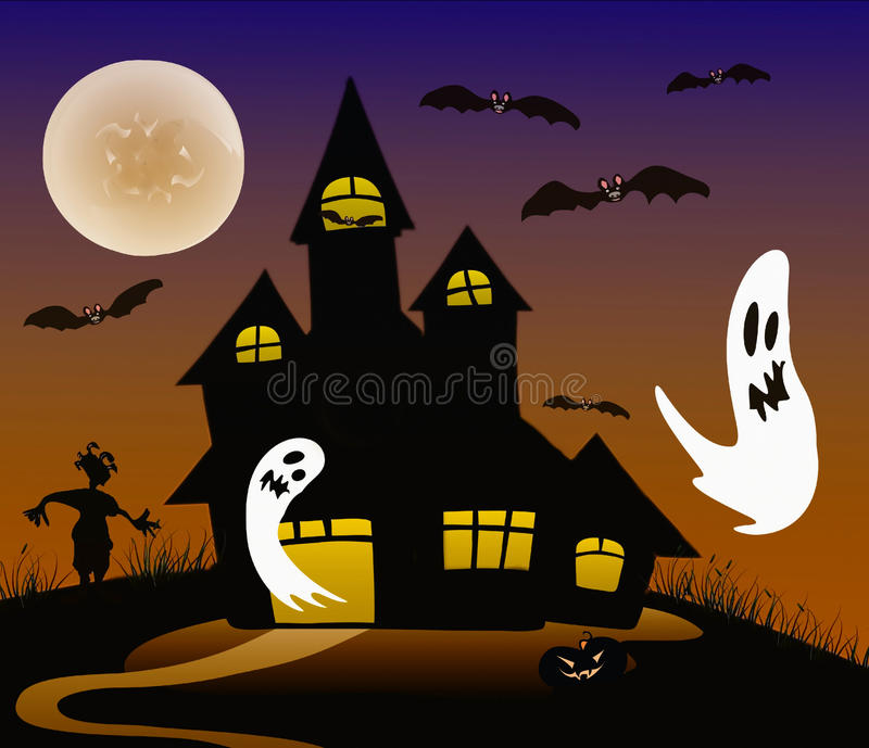 Halloween achtervolgde griezelig huis royalty-vrije stock fotografie