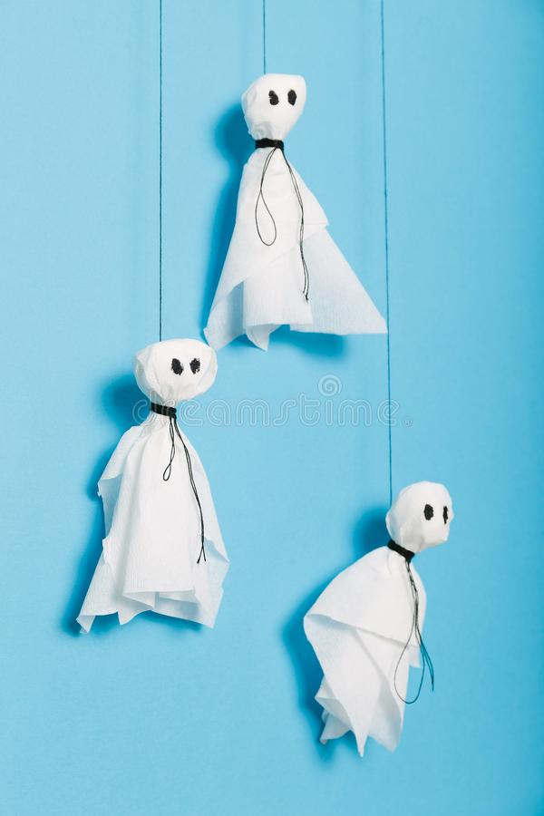 Halloween activities craft, scary ghosts composition for kids royalty free stock images