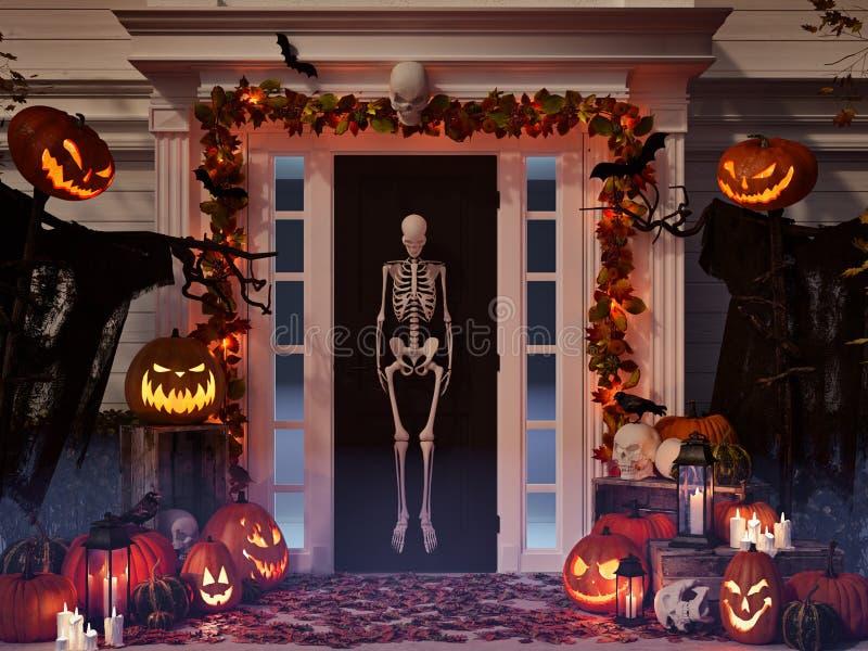 Halloween adornó la casa con las calabazas y los cráneos representación 3d fotos de archivo