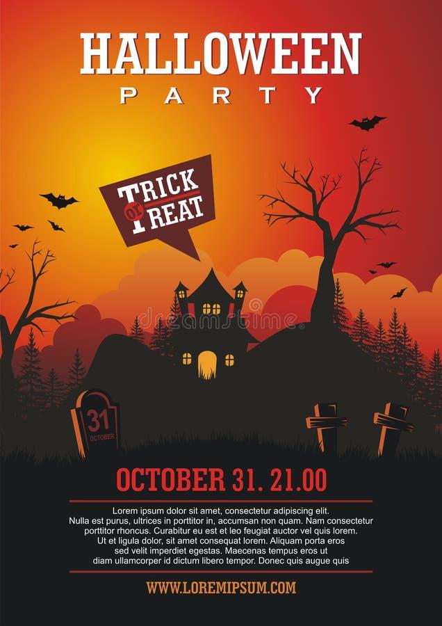 Halloween-Affiche met Grappige beeldverhaalstijl en griezelig ontwerp royalty-vrije illustratie