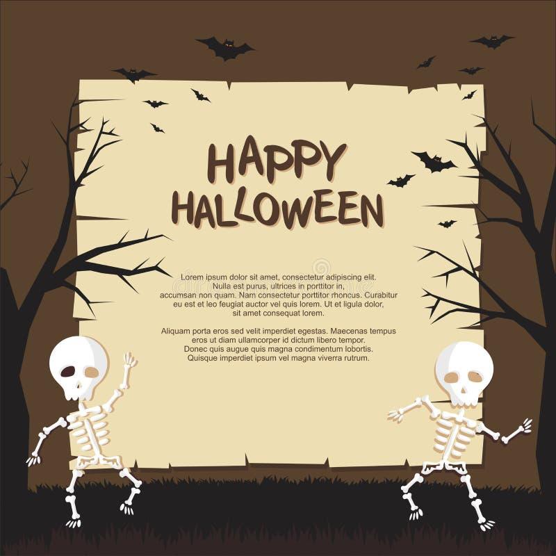 Halloween-Affiche met het Grappige griezelige ontwerp van de beeldverhaalstijl vector illustratie