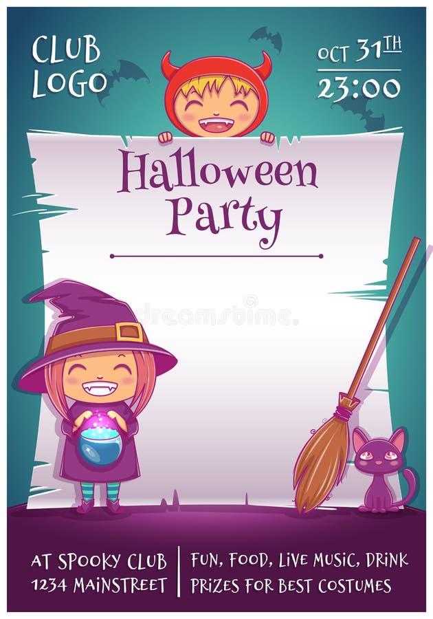 Halloween-affiche met kleine jonge geitjes in kostuums van heks en duivel met zwarte katje en bezem Gelukkige Halloween-partij vector illustratie