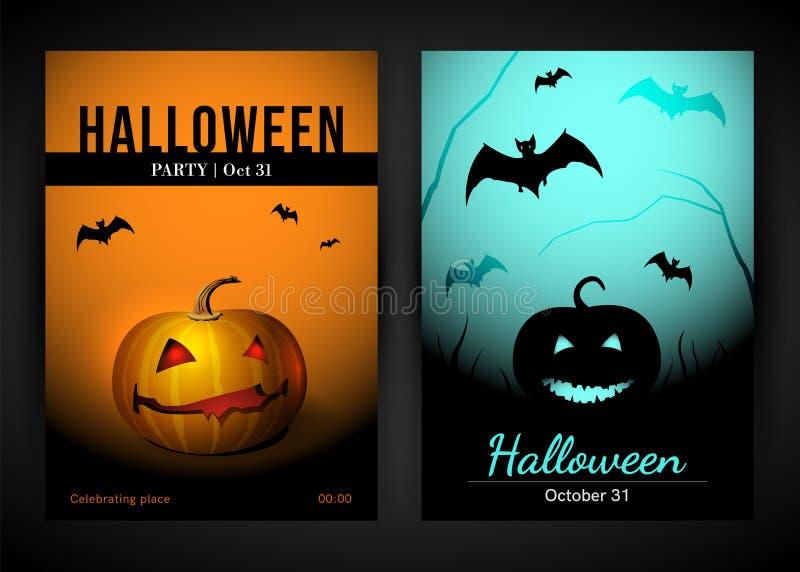 Halloween-Affichemalplaatje met Knuppel en Pompoen royalty-vrije illustratie