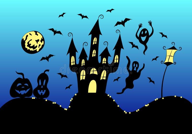 Halloween-affisch, hälsningskortmall: kusligt hemsökt hus på kullen, fladdermöss, pumpa, glänsmönster, månlykta och gatlykta vektor illustrationer