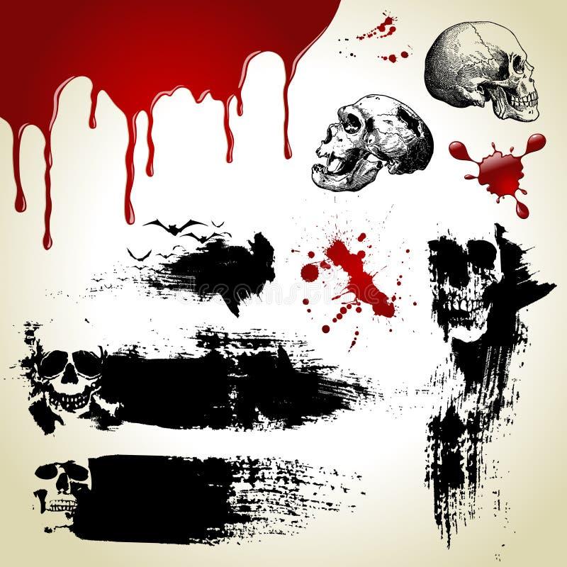 Halloween ajustou-se: texturas assustadores ilustração royalty free