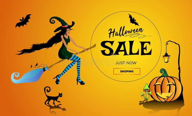Halloween ale promotion poster, banner with a beautiful black witch on a broomstick, a black cat and a fun pumpkin. Vector illustr royalty free illustration