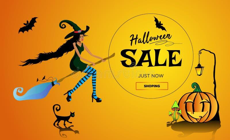 Halloween-Aleförderungsplakat, Fahne mit einer schönen schwarzen Hexe auf einem Besenstiel, eine schwarze Katze und ein Spaßkürbi lizenzfreie abbildung
