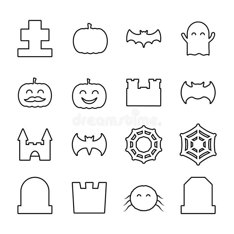 Halloween allineato ha collegato le icone messe Raccolta della linea sottile elementi decorativi svegli illustrazione di stock