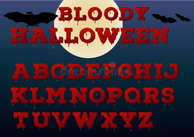Halloween alphabet. Bloody effect font. Vector art stock illustration