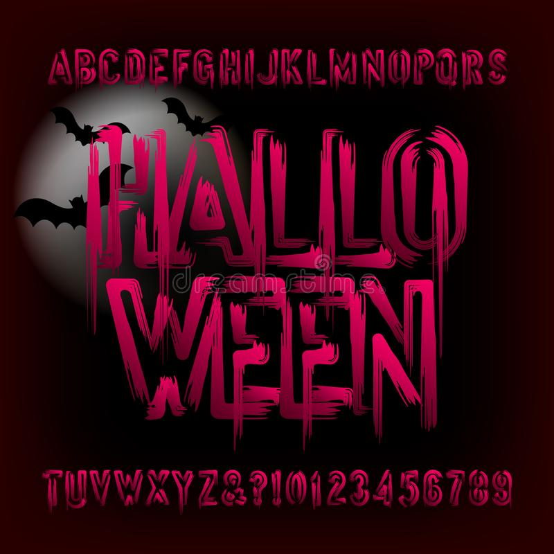 Halloween alphabet font. Brush stroke blood letters and numbers. Hand drawn vector typography for your typography design vector illustration