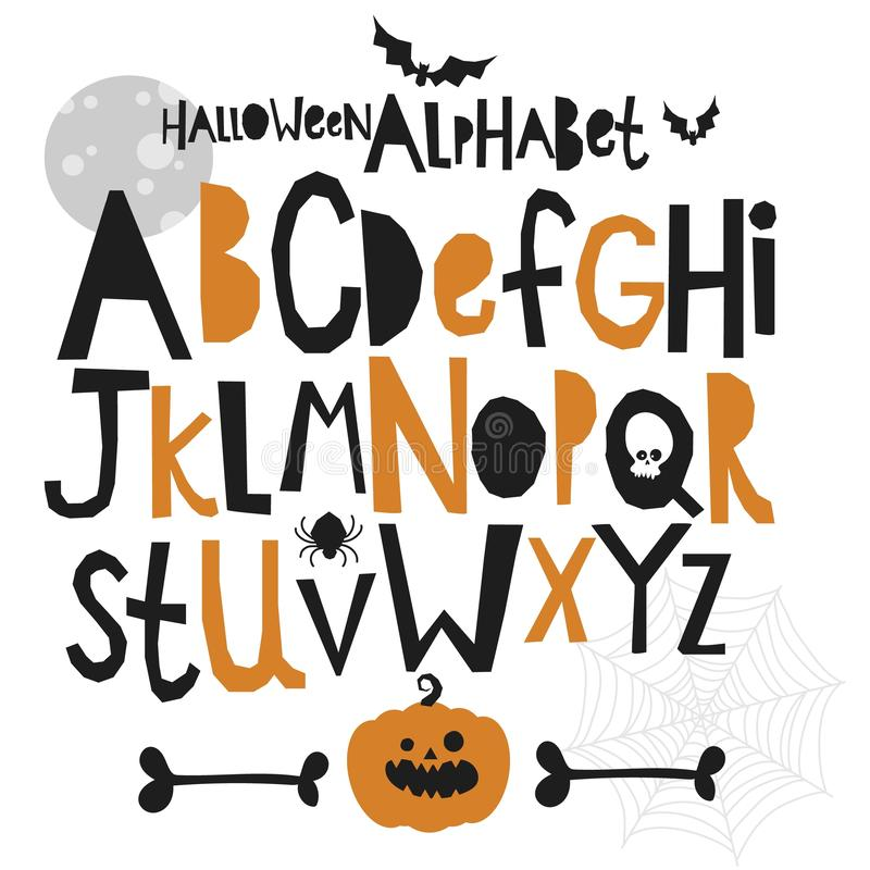 Halloween alphabet letters set, vector illustration, for design vector illustration