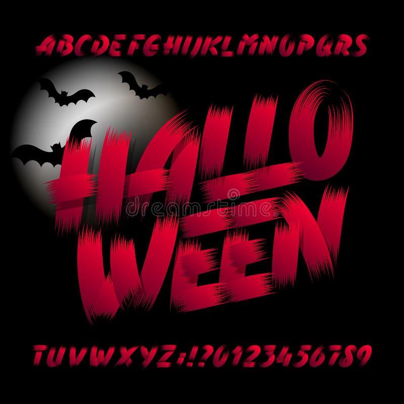 Halloween-Alphabetguß Bürstenanschlagbuchstaben, -zahlen und -symbole Hand gezeichnete Vektortypographie lizenzfreie abbildung