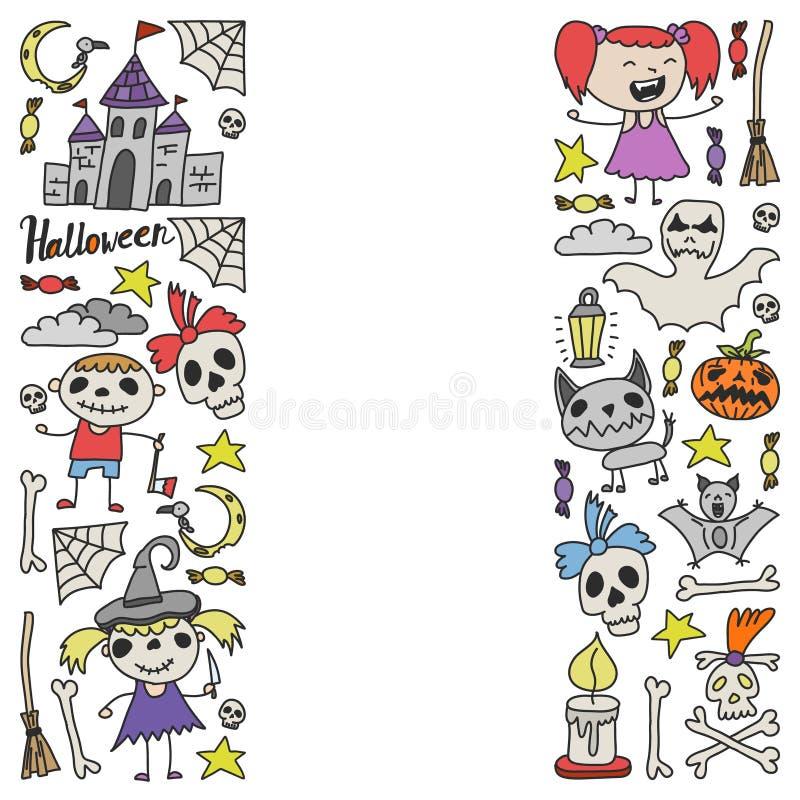 Halloween als thema gehade krabbelreeks Traditionele en populaire symbolen - gesneden pompoen, partijkostuums, heksen, spoken, mo vector illustratie