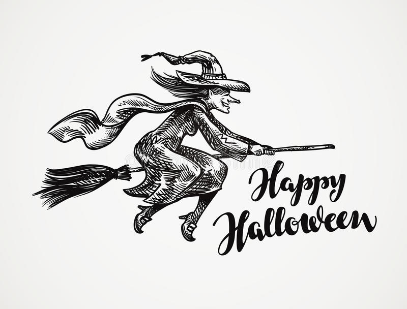 Halloween Altes böses Hexenfliegen auf Besenstielskizze Auch im corel abgehobenen Betrag stock abbildung
