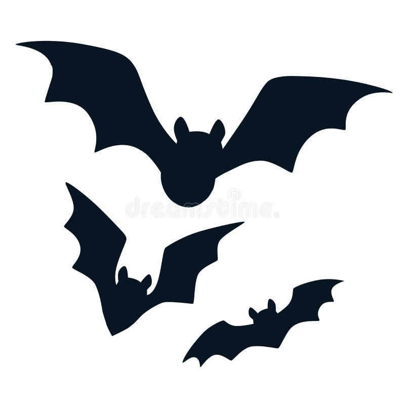 Halloween annerisce i pipistrelli che pilotano le siluette isolate su bianco Simpl illustrazione vettoriale