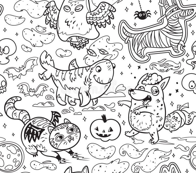 Halloween apprêtent modèle avec les animaux mignons de bande dessinée dans le contour Illustration noire et blanche de vecteur illustration de vecteur