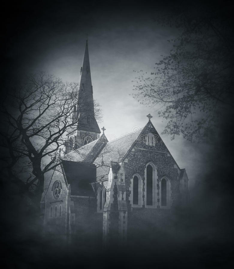 Halloween architectural background: ancien church royalty free stock photo