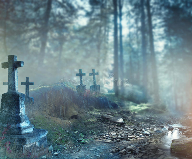 Halloween art design background. Foggy graveyard royalty free stock images