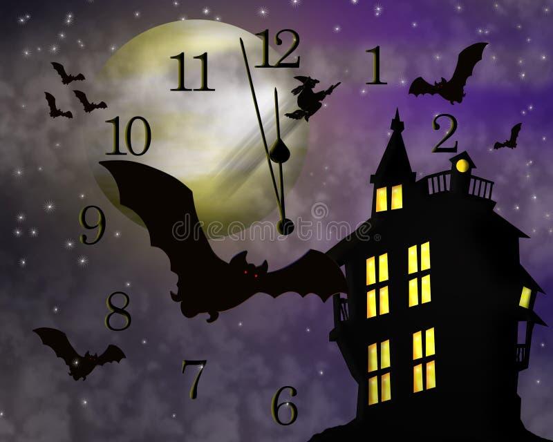 Halloween assombrou a casa e os bastões ilustração do vetor
