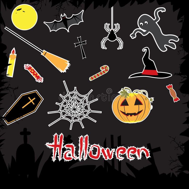 Download Halloween-Attribute Eingestellt. Vektor Abbildung - Illustration von oktober, nacht: 26351657