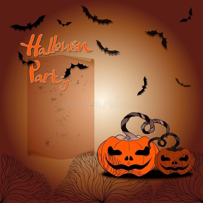 Halloween Attributen van de vakantie - pompoenen, knuppels, bloemen, silhouetten van bomen Vector beeld stock illustratie