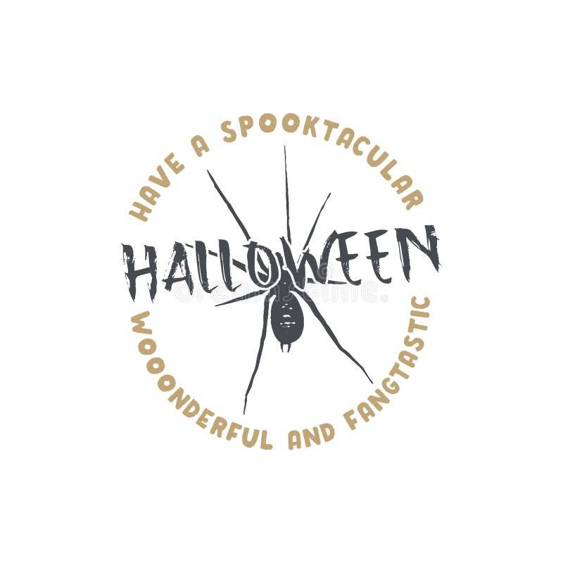 Halloween-Ausweis Gezeichnetes Logodesign der Weinlese Hand Einfarbige Art Typografieelemente und Halloween-Symbol - Spinne stock abbildung