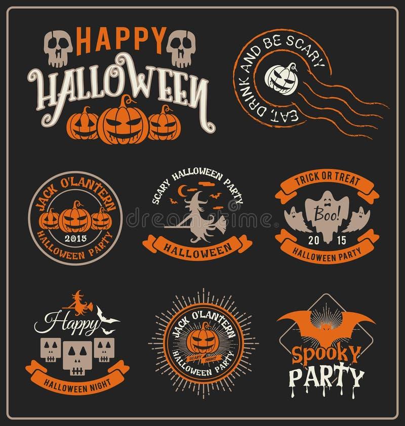 Halloween-Ausweisaufkleber und Rahmendesign lizenzfreie abbildung