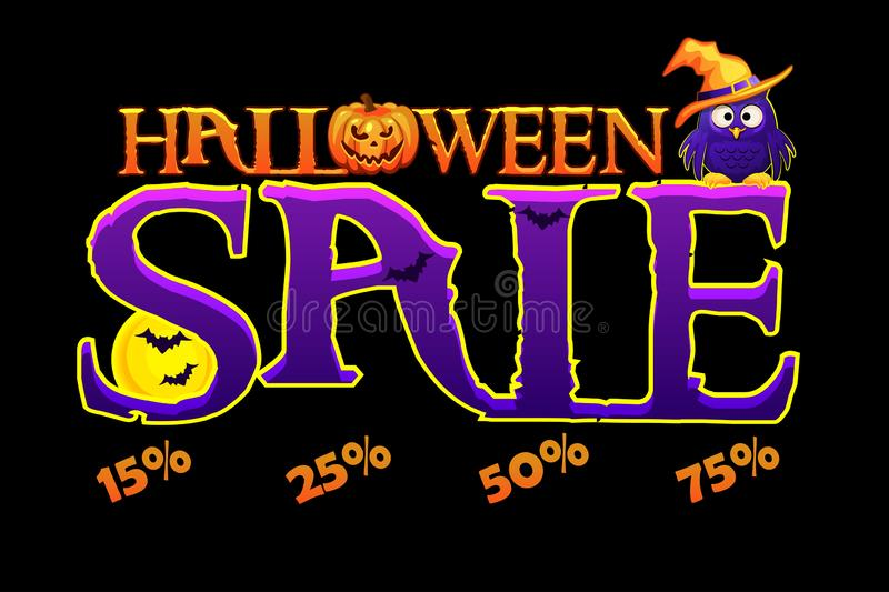 Halloween SALE banner. Halloween Sale special offer banner template with pumpkin, full moon and owl. Vector illustration royalty free illustration