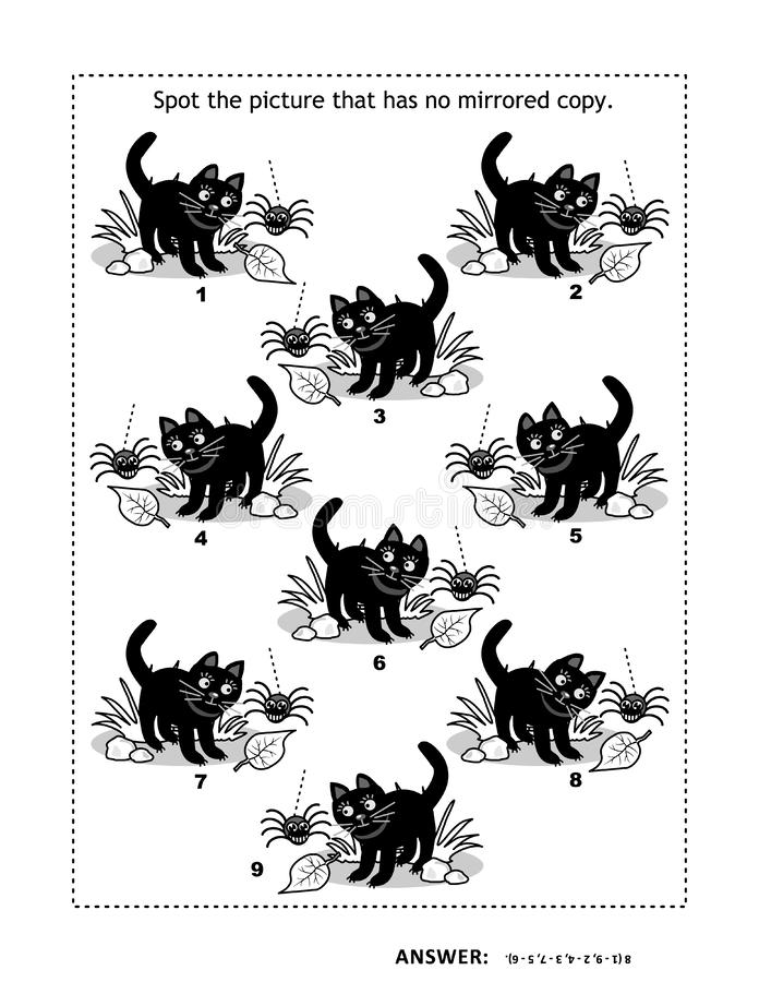 Halloween themed picture puzzle with black cats and spiders vector illustration