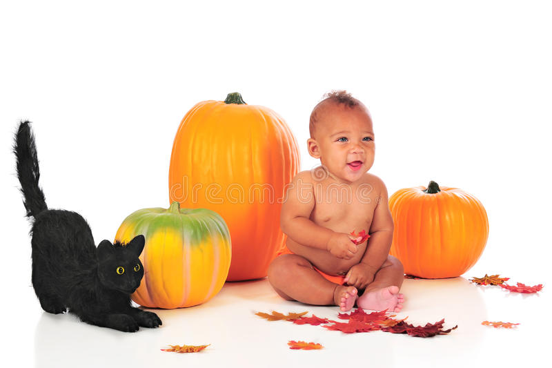 Halloween Baby. A happy blue-eyed, biracial baby sitting among Halloween decore. Isolated on white royalty free stock image