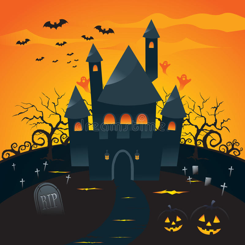 Download Halloween background stock vector. Image of hill, moon - 10575993