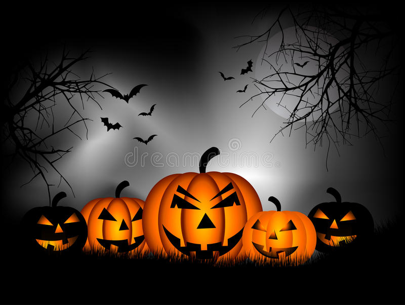 Halloween background. Spooky Halloween background with pumpkins and bats