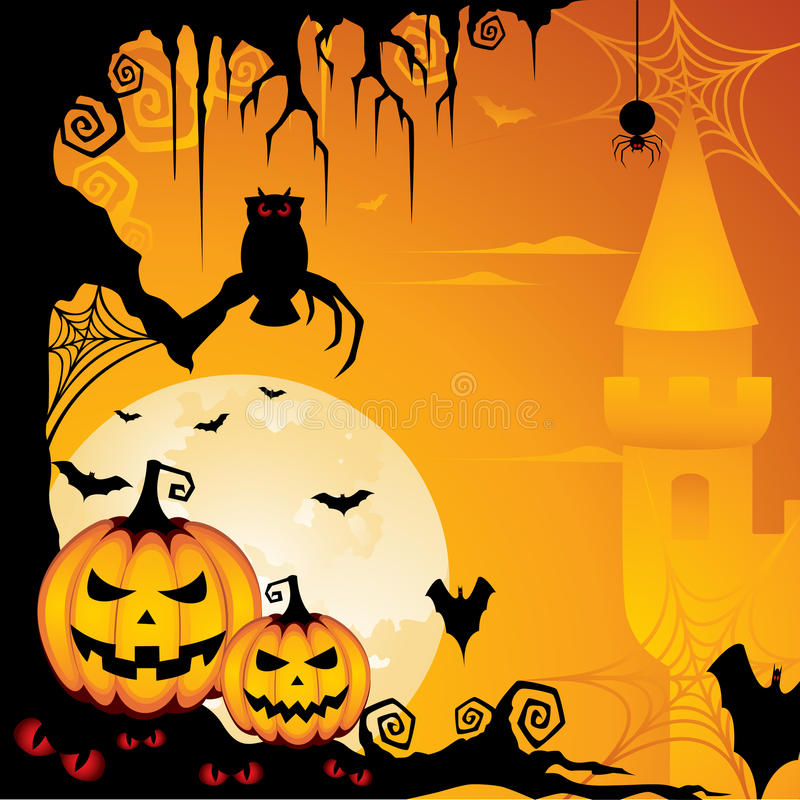 Halloween Background. A spooky illustration with almost all scary elements for Halloween celebration