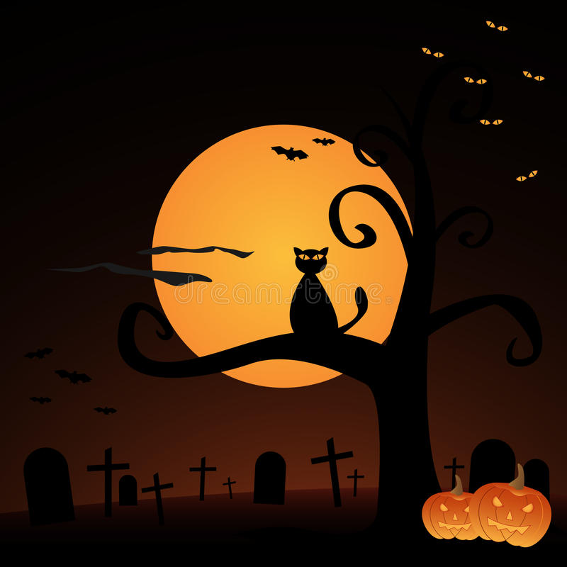 Halloween background. Illustration of an Halloween background with pumpkins,full moon, a cat, a cemetery and bats.EPS file available vector illustration