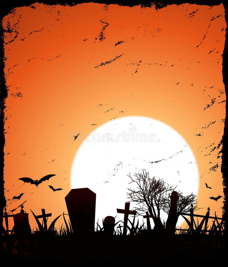 Halloween Background. Illustration of a grunge halloween background with sunset behind royalty free illustration
