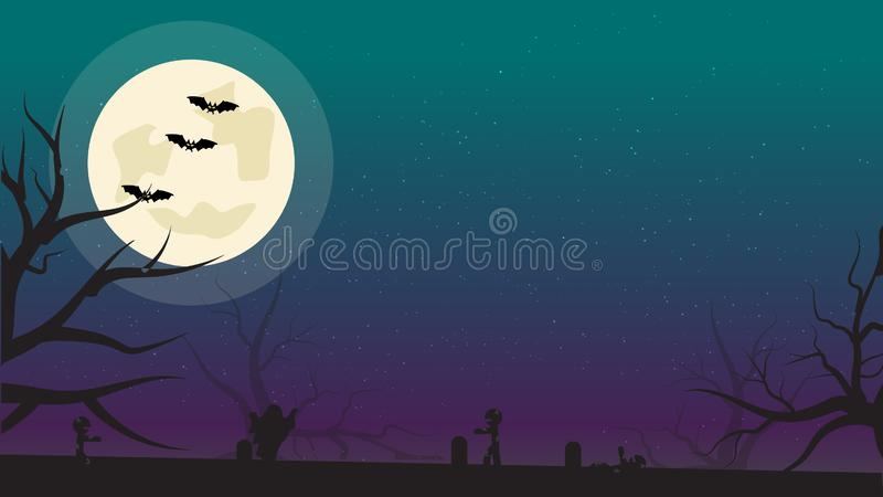 Halloween Background with Bats, Zombies and Full Moon. Flyer or Invitation Template for Halloween Party with Empty Space for your stock illustration
