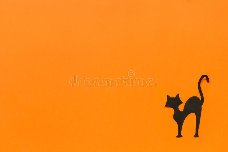 Halloween background. Black paper cat on orange background stock photos