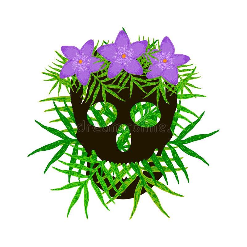 Halloween background with black skull royalty free illustration